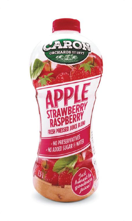 Apple strawberry and raspberry juice Caron Orchard's